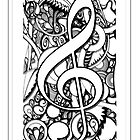 TREBLE CLEFF MUSICAL NOTE by Paul  Dunne