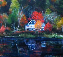 Dusky Embers- (Autumn in New England) by Lynn  Abbott