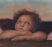 Cherub in pastels, after Raphael by Pam Humbargar
