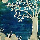 Tree in the dark,BOOOOOO, watercolor by Anna  Lewis