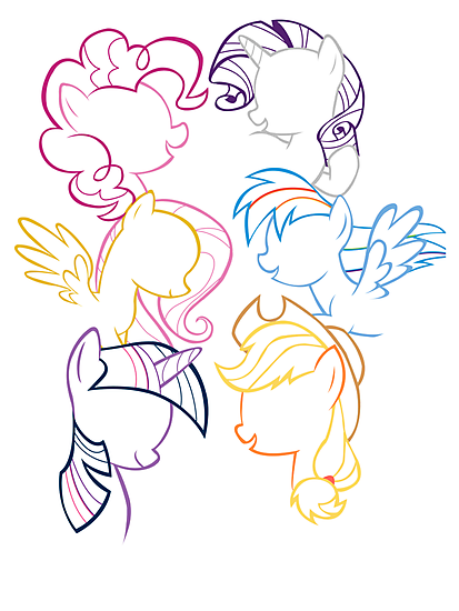 Mane 6 Outline by LcPsycho