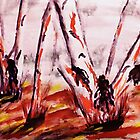 Gum Trees looking messy, watercolor by Anna  Lewis