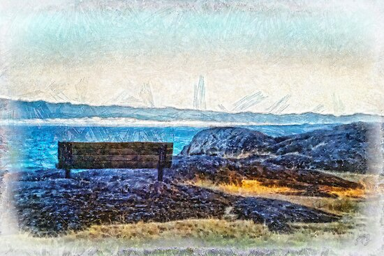 Fog View Bench #2 (painted) by James Zickmantel