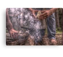 campfire hands Canvas Print