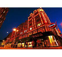 London Harrods Luxury Lights Photographic Print