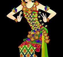 Balinese Dancer & Frangipani (black background) by myrbpix