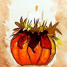 Fall  Pumpkin Candle, watercolor by Anna  Lewis
