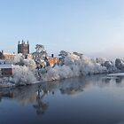 River Wye and Hereford Cathedral on a cold winters day,December 2010 by Robert Lewis