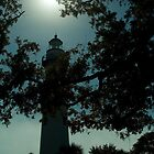 Lighthouse In Silhouette With Oaks and Palmettos by BenSellars