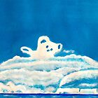 Hide and Seek Acrylic Painting - Teddy Bear in the clouds closeup by Rick Short