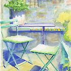 Chairs in the Sunshine, Castelnou, France by reddogcards