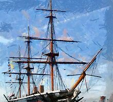 HMS Warrior the first iron-hulled, armour-plated warship by Dennis Melling