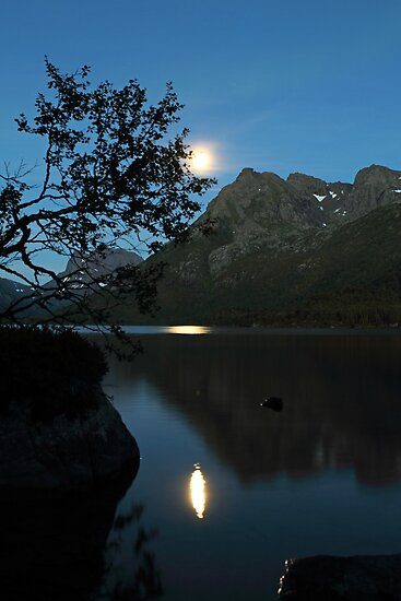 Moon over the lake by Frank Olsen