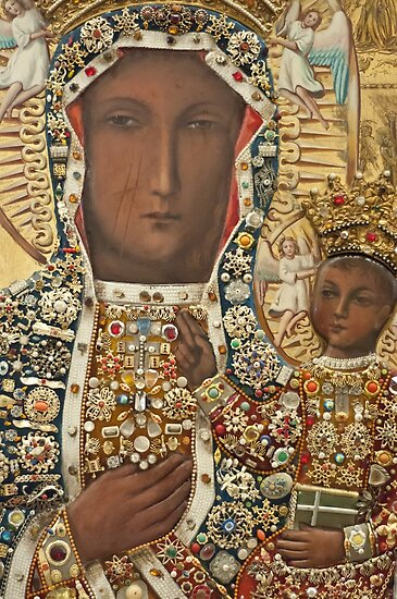 Our Lady of Czestochowa Bejeweled Picture - Closeup by blessedartthou