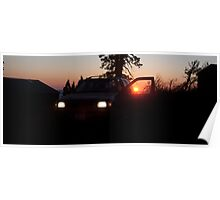 Red Sunset SUV Poster