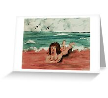 Opps, the water is freezing! watercolor Greeting Card
