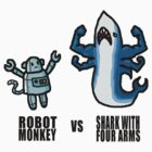 Robot Monkey VS Shark with 4 arms by GeekCupcake
