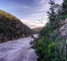 Wild river - Cataract Gorge in flood Launceston by Ben Swanson