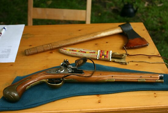 flintlock pistol and tomahawk by wolf6249107