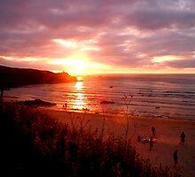 Stunning Sunset over a Cornish Beach by saraotter