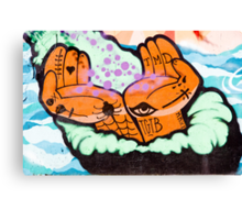 Abstract Graffiti detail with hands. Canvas Print