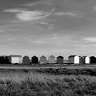 Black And White Beach Huts by Louise Godwin