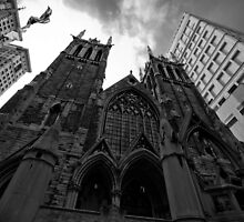 First Presbyterian Church, Front View: Black White Version by creativeburn