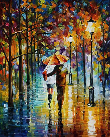Under the red Umbrella - Leonid Afremov by Leonid  Afremov