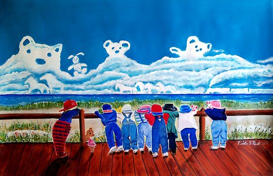 Hide and Seek - Children at play acrylic original painting by Rick Short