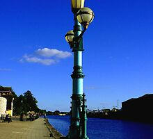 GREEN LAMP ON EXETER QUAY by Charmiene Maxwell-batten
