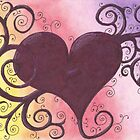 Maroon Heart Drawing Pastel with Prisma Marker by Michelle Clifton