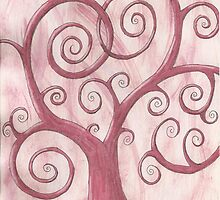 Pink Tree Drawing Watercolor with Prisma Marker by Michelle Clifton