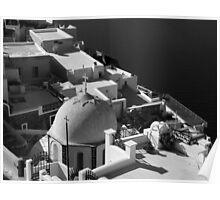 Santorini Domed Church ~ Black & White Poster
