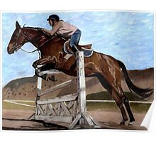 The Jumper - Horse & Rider Practicing Their Jumping Skills Poster