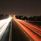 Night Time Travel Light Trails by Carolyn Chentnik