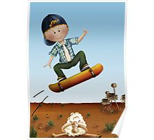 Skateboard jumps over sheep Poster