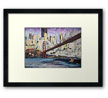 Golden City, Red Bridge, No Gate Framed Print
