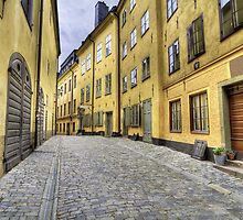 Cobblestone street with yellow houses. by cloud7