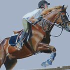 Life's Hurdles with Grace - Horse & Rider Jumping by Patricia Barmatz