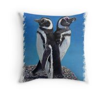 Adorable Penguin Greeting Card Throw Pillow