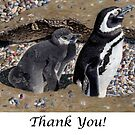 Looking Out For You - Mother &amp; Baby Penguins Greeting Card by Patricia Barmatz