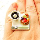Coffee Food Ring Kawaii Fruit Tart  by souzoucreations