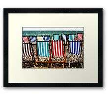 Seafront Deckchairs - Beer, Devon Framed Print