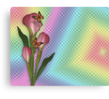 Calla lily and butterflies rainbow  Canvas Print