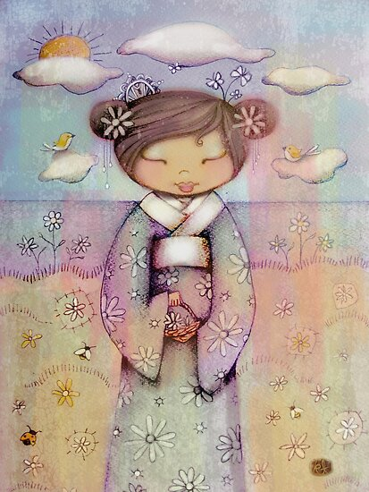 kokeshi flower girl by Karin  Taylor