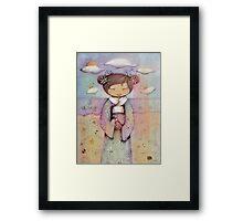 kokeshi flower girl Framed Print