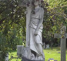 Norwood cemetary: Sculpture: Angel, crowned with fruit berries -(220811c)- Digital photo  by paulramnora