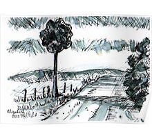 Pen-and-ink landscape Poster