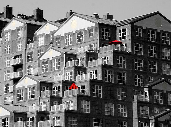 Two Red Umbrellas by Eileen McVey