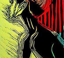"Behind the Curtain (Woodcut Chine Colle) by Belinda ""BillyLee"" NYE (Printmaker)"